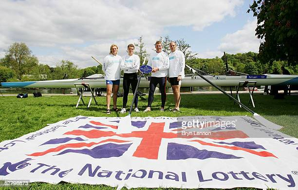 Olympic gold medal winners Tim Foster James Cracknell Mathew Pinsent and Steve Regdrave pose for photographers during the National Lottery Legends...