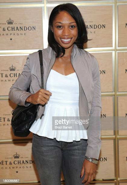 Olympic Gold Medalist Allyson Felix attends the The Moet & Chandon Suite at USTA Billie Jean King National Tennis Center on September 8, 2013 in New...