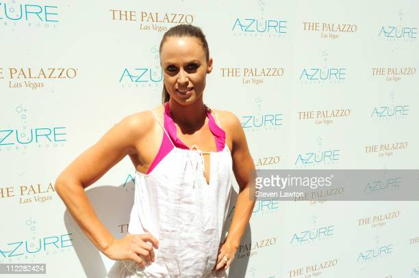 Olympic gold medalist Amanda Beard arrives to host a pool party at Azure on April 16 2011 in Las Vegas Nevada