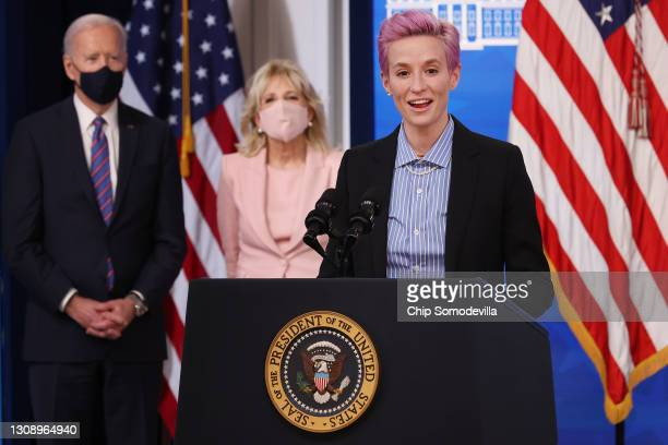 Olympic gold medalist and two-time World Cup champion soccer player Megan Rapinoe deliers remarks during and event to mark Equal Pay Day with U.S....