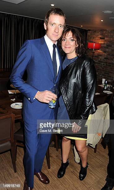 Olympic Gold Medalist Bradley Wiggins and Catherine Wiggins attend as The Stone Roses perform a secret gig at adidas Underground on August 6 2012 in...