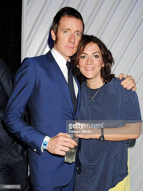 Olympic Gold Medalist Bradley Wiggins and wife Catherine attend as The Stone Roses perform a secret gig at adidas Underground on August 6 2012 in...