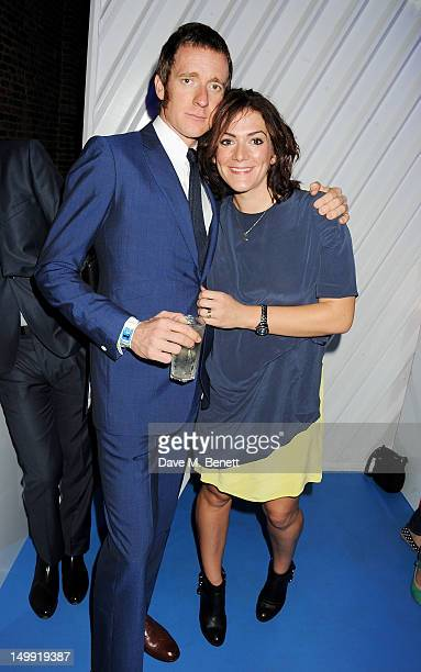 Olympic Gold Medalist Bradley Wiggins and wife Catherine Wiggins attend as The Stone Roses perform a secret gig at adidas Underground on August 6...