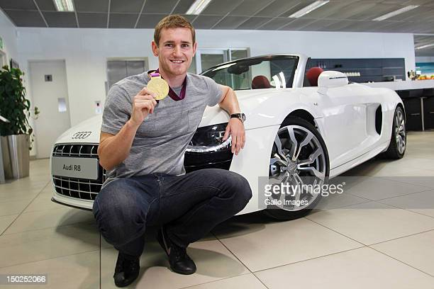 Olympic gold medalist Cameron van der Burgh receives a new Audi R8 from Audi SA on August 11 2012 in Johannesburg South Africa