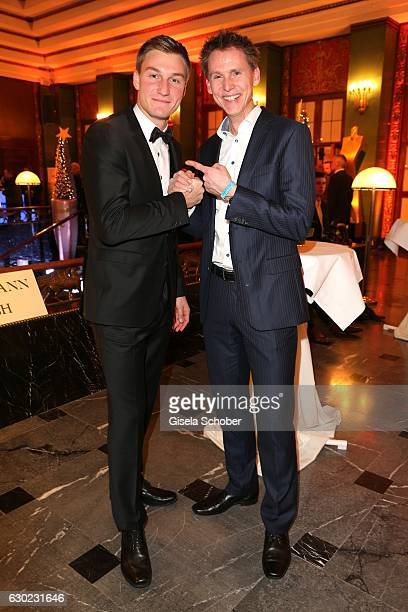 Olympic gold medalist champion javelin throw Thomas Roehler and Frank Busemann during the 'Sportler des Jahres 2016' Gala at Kurhaus on December 18...