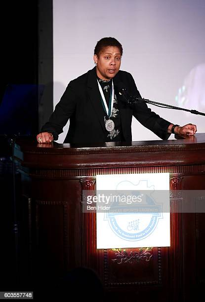Olympic Gold Medalist Cheryl Miller speaks onstage during the 31th Annual Great Sports Legends Dinner to benefit The Buoniconti Fund to Cure...