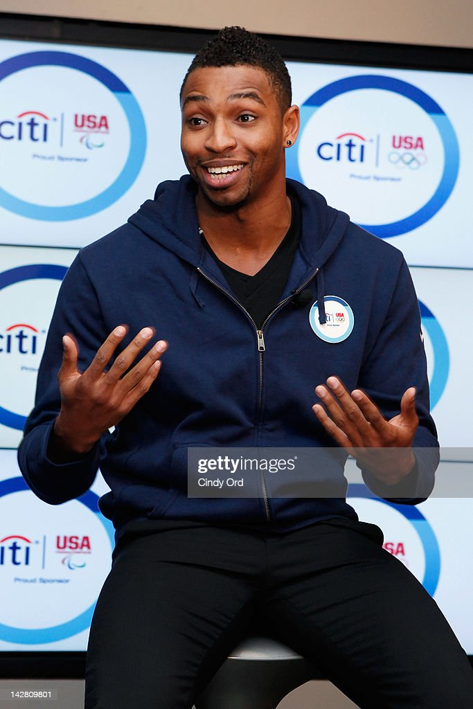 Olympic gold medalist Cullen Jones attends the Citi's Team USA Sponsorship Launch at Citibank on April 12, 2012 in New York City.