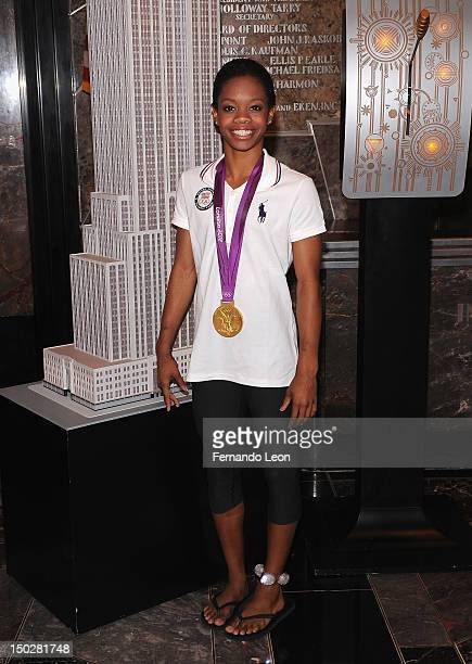 Olympic gold medalist Gabby Douglas arrives to light The Empire State Building on August 14 2012 in New York City