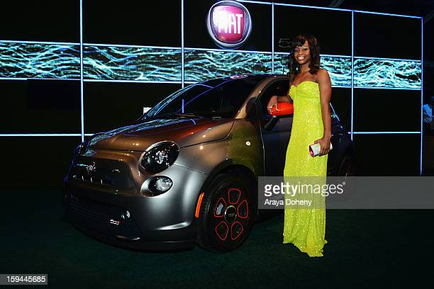 Olympic gold medalist Gabby Douglas attends Fiat's Into The Green at the 70th Annual Golden Globe Awards held at The Beverly Hilton Hotel on January...