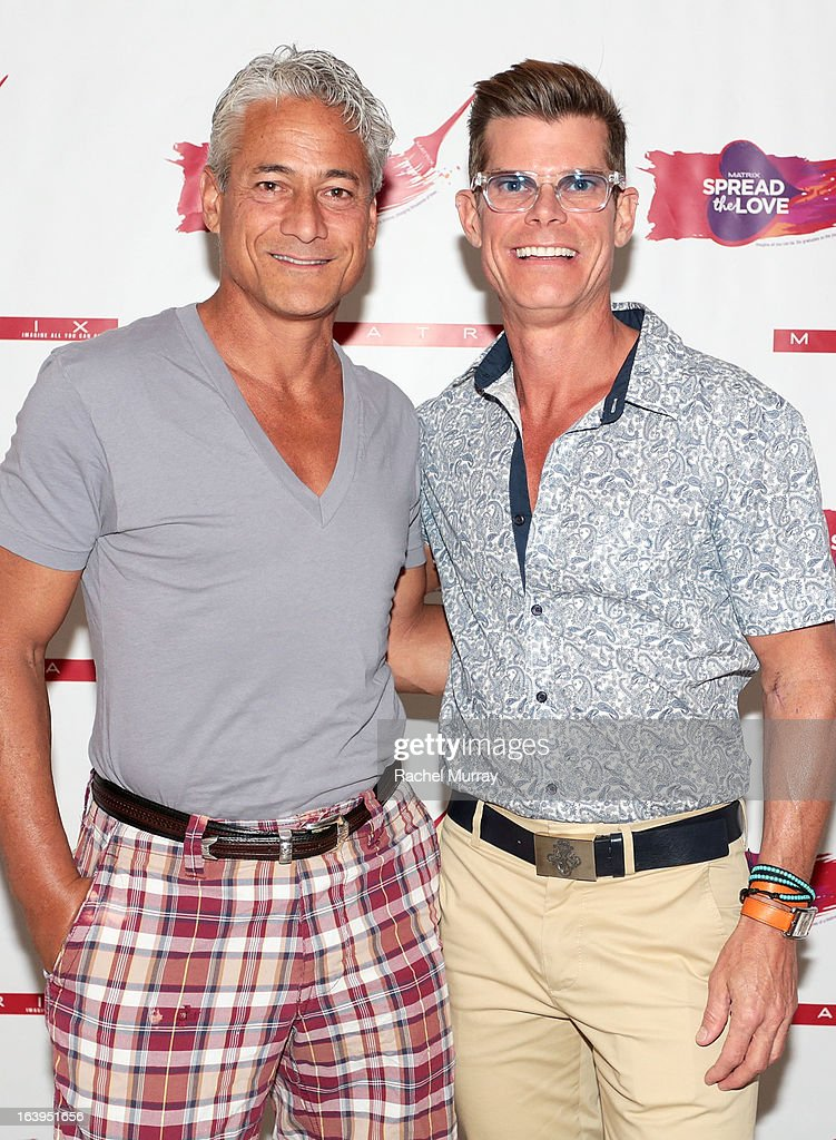 Olympic Gold Medalist Greg Louganis (L) and Renowned Beverly Hills hairstylist Lenny Strand attend the Bash To Banish Bullying Benefiting It Gets Better, a Matrix Chairs Of Change Event - Day 1 at Saguaro Hotel on March 16, 2013 in Palm Springs, California.