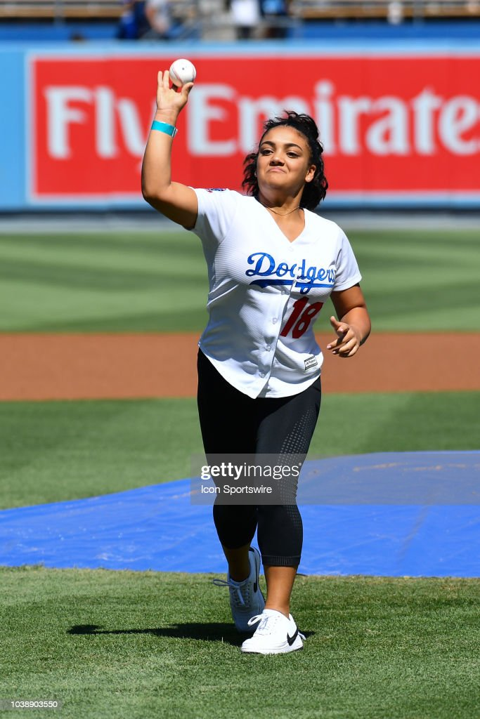 olympic gold medalist gymnast laurie hernandez throws out the first