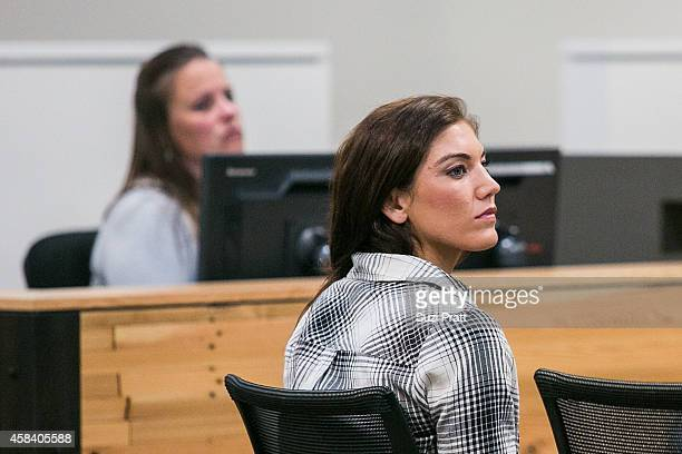 Olympic gold medalist Hope Solo appears in court at Kirkland Municipal Court on November 4, 2014 in Kirkland, Washington. Solo is charged with...