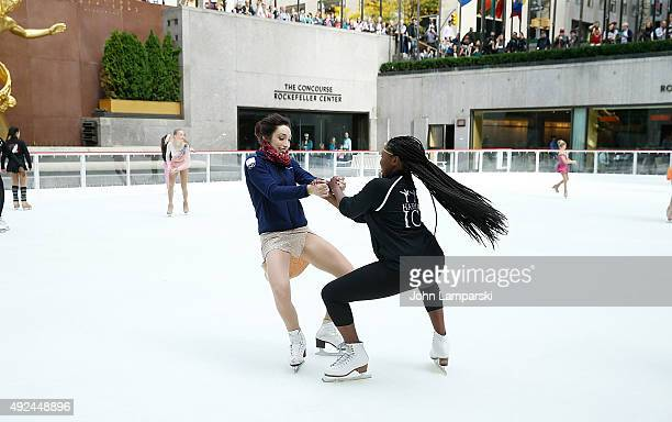 Olympic Gold Medalist Ice Dancer Meryl Davis attends along with a child skater from Figure Skating in Harlem the 2015 2016s season opening at the...
