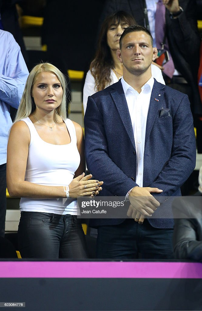 Olympic gold medalist in Rio Lukas Krpalek of Czech Republic in judo and his wife Eva Krpalekova attend the 2016 Fed Cup Final between France and Czech Republic at Rhenus Sport arena on November 13, 2016 in Strasbourg, France.