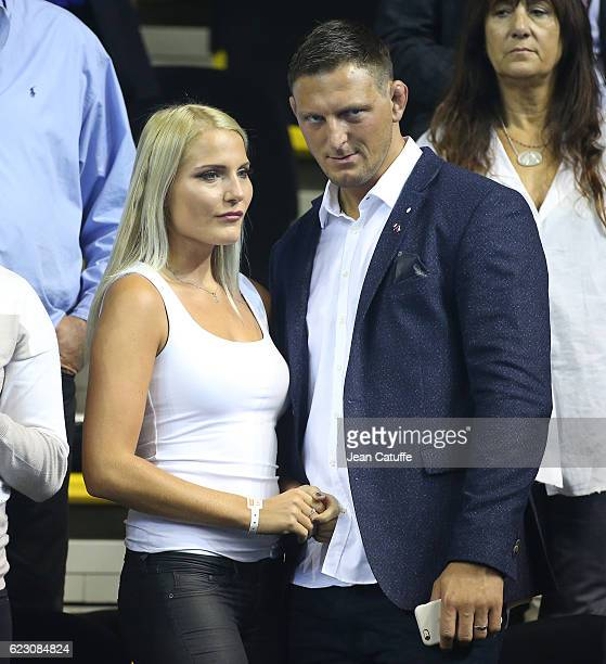 Olympic gold medalist in Rio Lukas Krpalek of Czech Republic in judo and his wife Eva Krpalekova attend the 2016 Fed Cup Final between France and...