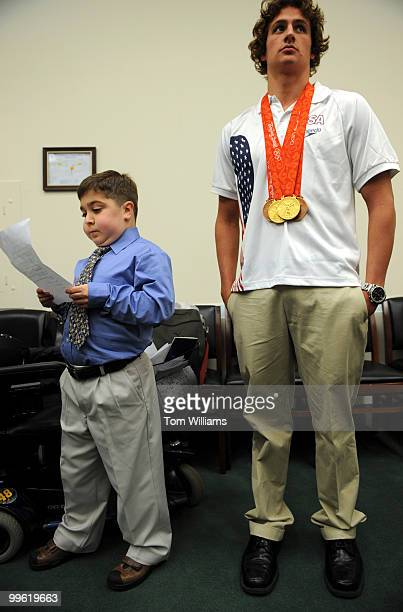 Olympic gold medalist in swimming Ryan Lochte and Michael Gaglianone of Mt Ephraim NJ prepare for a news conference on the reauthorization of the the...