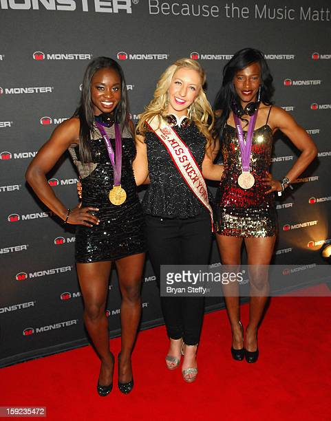 Olympic Gold medalist Jeneba Tarmoh Miss New York Kelly Slingerland and Olympic Bronze medalist Kellie Wells arrive at the Monster DNA 2013 Consumer...