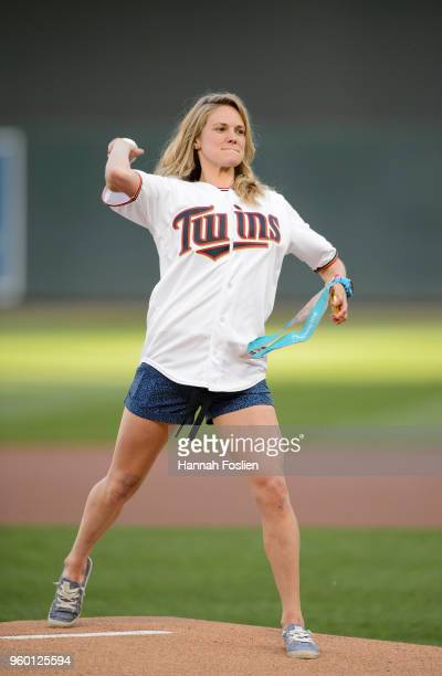 Olympic Gold Medalist Jessie Diggins delivers a ceremonial pitch before the interleague game between the Minnesota Twins and the St Louis Cardinals...