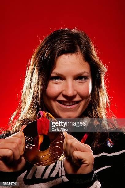 US Olympic Gold medalist Julia Mancuso poses for a photo before appearing on NBC's Today Show during the Turin 2006 Winter Olympic Games February 25...
