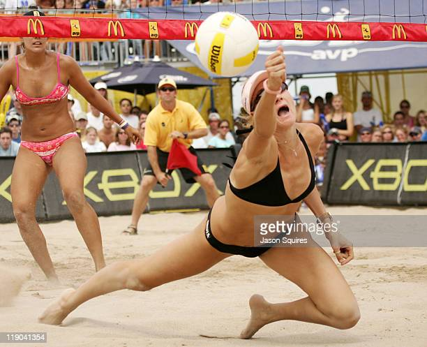Olympic gold medalist Kerri Walsh in action at the 2005 Chicago Open