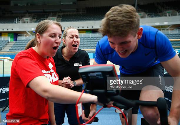 Olympic Gold Medalist Lizzie Yarnold gives encouragement to a trialist during the launch of the Discover Your Gold at Lee Valley Velopark Velodrome...