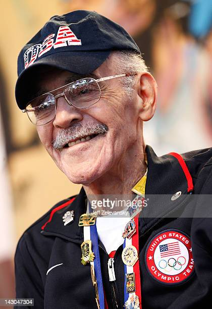 Olympic gold medalist Mal Whitfield attends the Team USA Road to London 100 Days Out Celebration in Times Square on April 18 2012 in New York City
