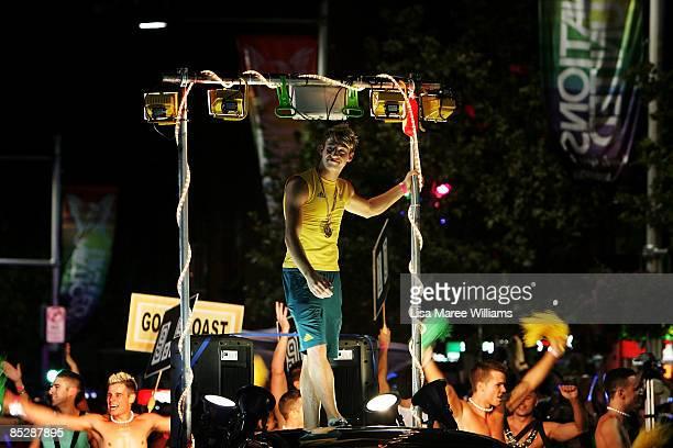 Olympic gold medalist Matthew Mitcham leads the annual Sydney Gay and Lesbian Mardi Gras Parade on March 7 2009 in Sydney Australia The annual parade...