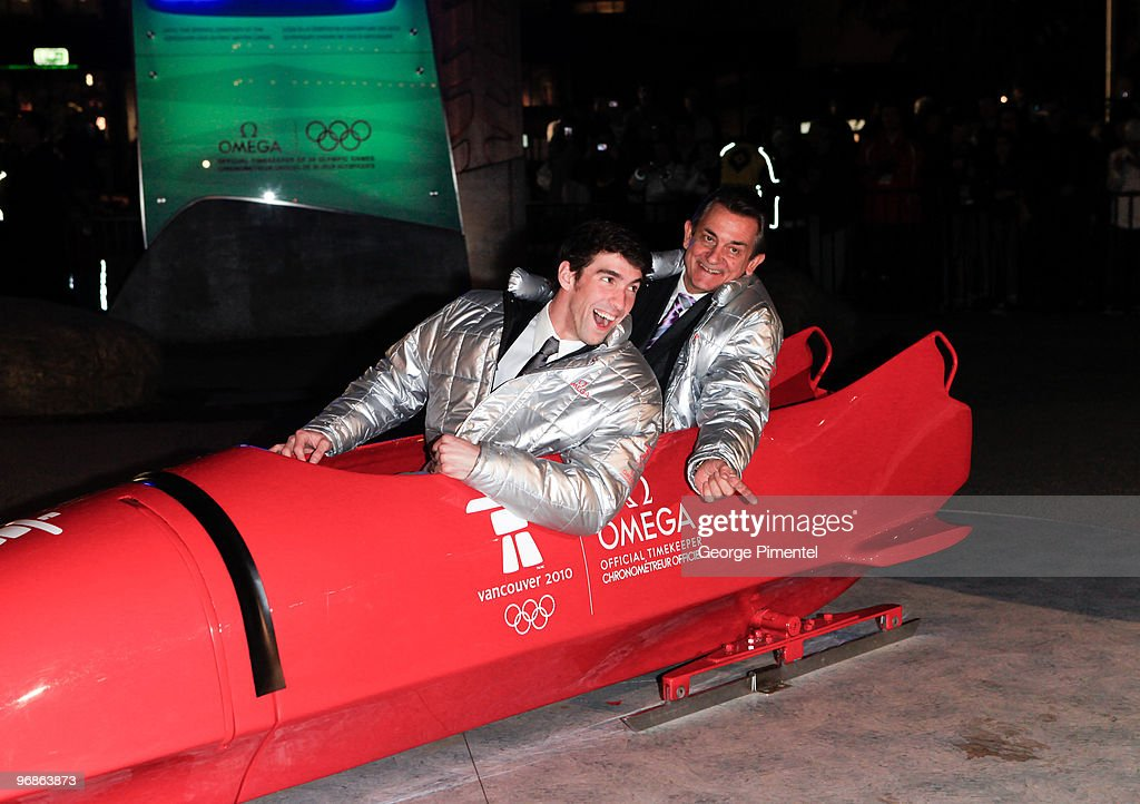 Olympic Gold Medalist Michael Phelps and President of OMEGA Stephen Urquhart attend the OMEGA Cocktail Celebration at the Fairmont Hotel on February 18, 2010 in Vancouver, Canada.