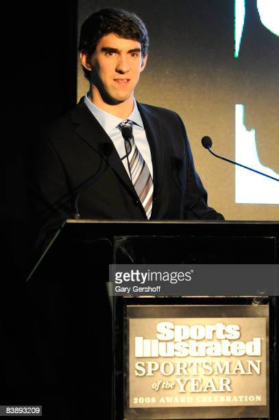 Olympic Gold Medalist Michael Phelps attends the 2008 Sports Illustrated Sportsman of the Year award celebration at the IAC Building on December 2,...