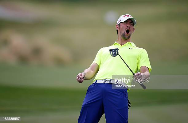 fa50eb1c0f Olympic gold medalist Michael Phelps reacts to a missed putt during the  first round of ARIA. ARIA Resort & Casino's 12th Annual Michael Jordan  Celebrity ...