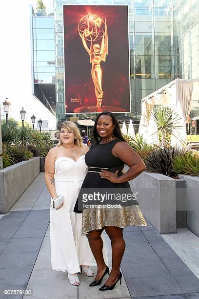 Olympic Gold Medalist Michelle Carter and Blogger Nicolette Mason at the 68th Emmy Awards wearing ELOQUII at Microsoft Theater on September 18 2016...