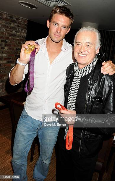 Olympic Gold Medalist Pete Reed and Jimmy Page attend as The Stone Roses perform a secret gig at adidas Underground on August 6 2012 in London England