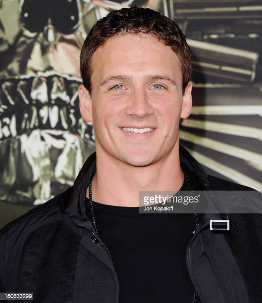 Olympic Gold Medalist Ryan Lochte arrives at the Los Angeles Premiere 'The Expendables 2' at Grauman's Chinese Theatre on August 15 2012 in Hollywood...