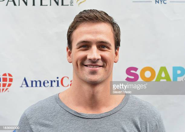 Olympic Gold Medalist Ryan Lochte attends day 1 of Swim For Relief Benefiting Hurricane Sandy Recovery at Herald Square on October 8 2013 in New York...
