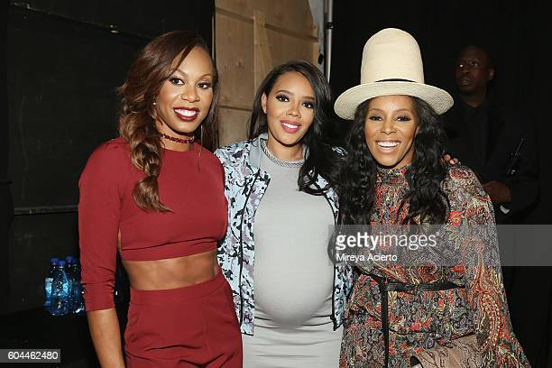 Olympic Gold medalist Sanya Richards Ross fashion designer Angela Simmons and celebrity stylist June Ambrose attend the Vipe Activewear Collection...