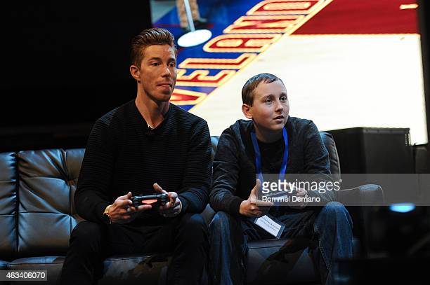 Olympic Gold Medalist Shaun White and Nick Brinson attend the Playstation Special Announcement Event at Gotham Hall on February 13 2015 in New York...