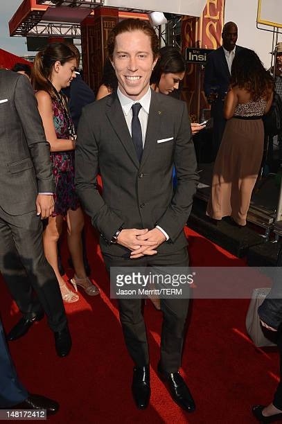 Olympic gold medalist Shaun White arrives at the 2012 ESPY Awards at Nokia Theatre LA Live on July 11 2012 in Los Angeles California