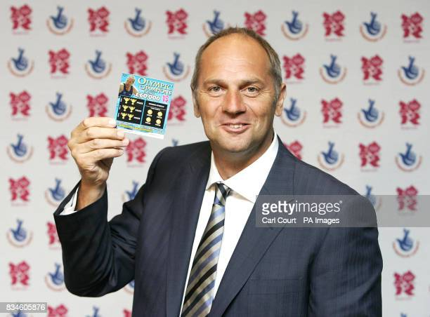 Olympic Gold Medalist Sir Steve Redgrave holds an Olympic Champions scratchcard at the launch in Piccadilly London