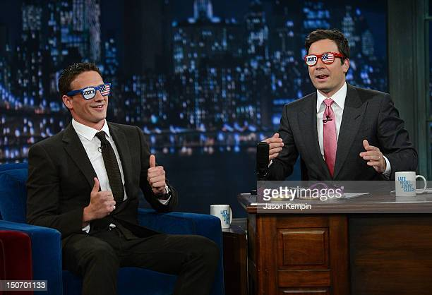 """Olympic Gold Medalist swimmer Ryan Lochte and host Jimmy Fallon visit """"Late Night With Jimmy Fallon"""" at Rockefeller Center on August 23, 2012 in New..."""