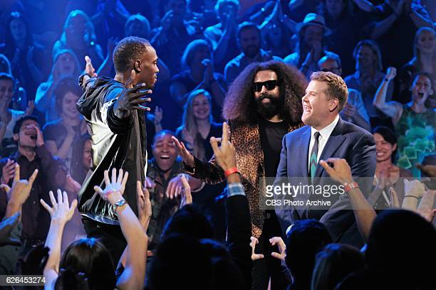 Olympic gold medalist Usain Bolt and Reggie Watts during Drop the Mic with James Corden during The Late Late Show with James Corden Wednesday...