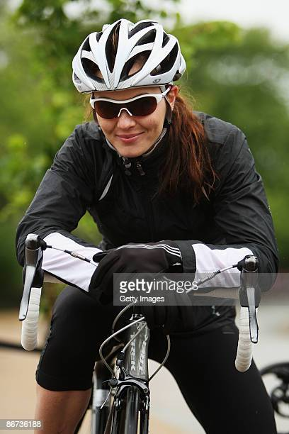 Olympic gold medalist Victoria Pendleton promotes Oakley's Breast Cancer Care sunglasses in Hyde Park on May 8, 2009 in London, England.