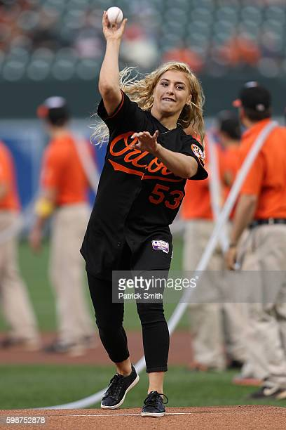 Olympic gold medalist wrestler Helen Maroulis throws out the first pitch before the New York Yankees play the Baltimore Orioles at Oriole Park at...
