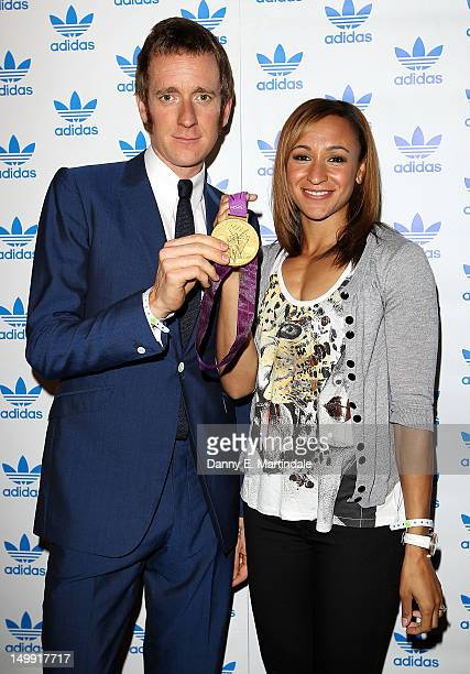 Olympic Gold Medalists Bradley Wiggins and Jessica Ennis attends The Stone Roses Adidas secret gig held at Adidas Underground on August 6 2012 in...