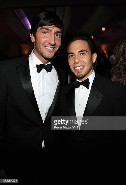 Olympic Gold Medalists Evan Lysacek and Apolo Ohno attend the 2010 Vanity Fair Oscar Party hosted by Graydon Carter at the Sunset Tower Hotel on...