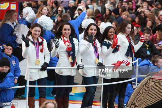 Olympic gold medalists in gymnastics Kyla Ross Jordyn Wieber Aly Raisman Gabby Douglas and McKayla Maroney ride in the 86th Annual Macy's...