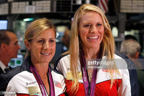 US Olympic gold medalists in Women's Rowing Erin Cafaro and Esther Lofgren ring the opening bell at the New York Stock Exchange on August 15 2012 in...