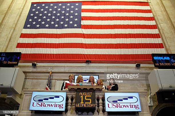 US Olympic gold medalists in Women's Rowing Erin Cafaro Meghan Musnicki Esther Lofgren and Mary Whipple ring the opening bell at the New York Stock...