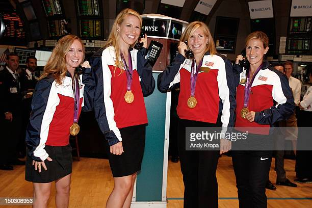 US Olympic gold medalists in Women's Rowing Mary Whipple Esther Lofgren Meghan Musnicki and Erin Cafaro ring the opening bell at the New York Stock...