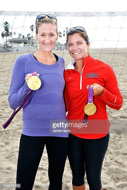 Olympic Gold Medalists Kerri Walsh Jennings and Misty MayTreanor attend ATT's My Journey sweepstakes on October 22 2012 in Huntington Beach California