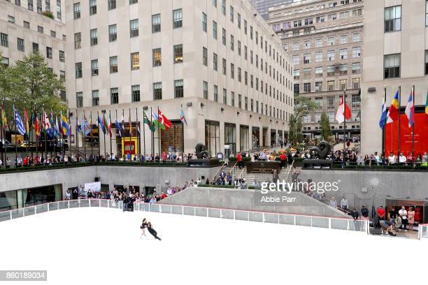 Olympic Gold Medalists Meryl Davis and Charlie perform the season's first skate at The Rink at Rockefeller Center on October 11 2017 in New York City